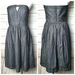 Calvin Klein Gray Strapless Lined Dress